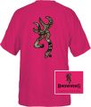 SIGNATURE PRODUCTS GROUP Browning Casual Tshirt Fushia w/Camo Buckmark Medium