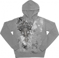 BLACK INK DESIGN INC Rutt Junkie Addicted Cross Hoodie Silver Medium