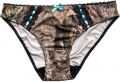 WEBER CAMO LEATHER GOODS Bikini Pantie Aqua Bow Large