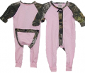 BONNIE & CHILDRENS SPORTSWEAR Pink Unionsuit Mossy Oak Breakup Trim 6 Months