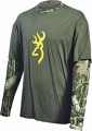 SIGNATURE PRODUCTS GROUP Youth Camo Layered L/S Tshirt Breakup Infinity w/Moss Small