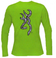 SIGNATURE PRODUCTS GROUP Womens Zebra Buckmark Long Sleeve Tshirt Lime Large