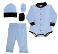 BONNIE & CHILDRENS SPORTSWEAR Easy On Pants, Hat, Booties Blue w/Mossy Oak Trim 3-6 Mths